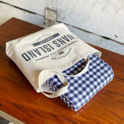 Swans Island Gingham Check Blankets- 100% Cotton Woven in Maine comes in Swans Island canvas tote.