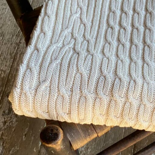 Cable Throw is knit with soft undyed American cotton. Made in USA.