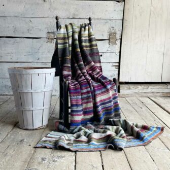 Artisan Ladders Throw #5 is a one-of-a-kind knit textile - a work of art!. Made in USA.