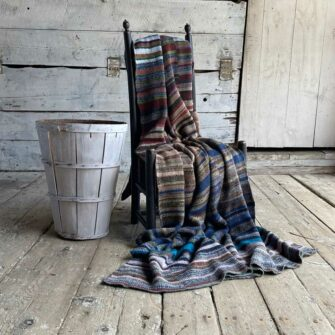 Artisan Ladders Throw #7 is a one-of-a-kind knit textile - a work of art!. Made in USA.