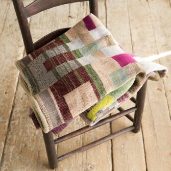 Artisan Patchwork Throw #116 is a one-of-a-kind knit textile - a work of art!. Made in USA.