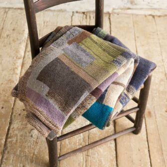 Artisan Patchwork Throw #122 is a one-of-a-kind knit textile - a work of art!. Made in USA.