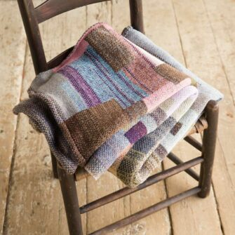 Artisan Patchwork Throw #123 is a one-of-a-kind knit textile - a work of art!. Made in USA.