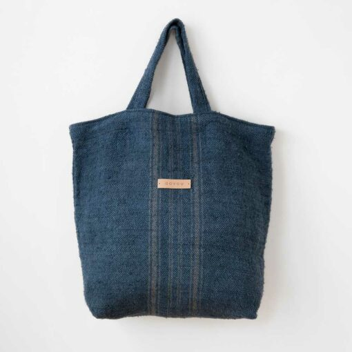 Swans Island's Basic Shopper by Govou is stitched of antique linen grain sacks up-cycled and over-dyed with all natural indigo dyes