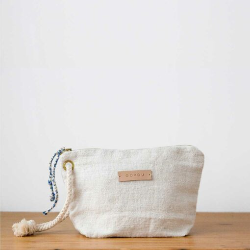 Swans Island's Raffia Market Tote by Govou - woven with natural palm. Small Linen pouch is included!