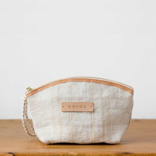 Swans Island's Makeup Bag by Govou is made from up-cycled vintage European hemp grain sacks.