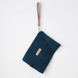 Swans Island's Clutch by Govou is made from up-cycled vintage European hemp grain sacks, hand-dyed with all natural indigo dyes.