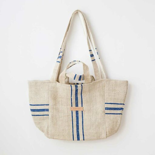 Swans Island's Mini Mami Tote by Govou is made of antique European linen grain sacks up-cycled into beautiful modern totes. Each bag is unique.