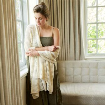 Swans Island Royal Alpaca wrap - knit in USA with ultra-soft alpaca. Shown here in Natural.