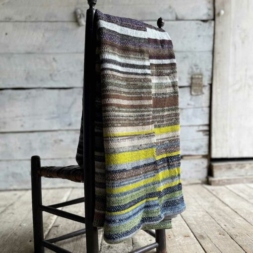 Artisan Ladders Throw #22 is a one-of-a-kind knit textile - a work of art! Made in USA.
