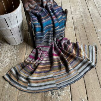 Artisan Ladders Throw #11 is a one-of-a-kind knit textile - a work of art! Made in USA.