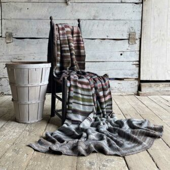 Artisan Ladders Throw #12 is a one-of-a-kind knit textile - a work of art! Made in USA.