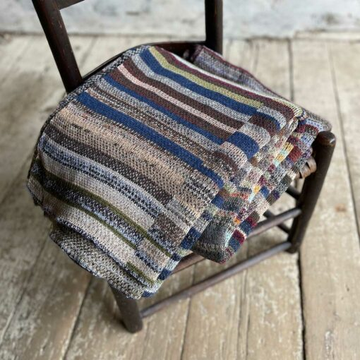 Artisan Ladders Throw #14 is a one-of-a-kind knit textile - a work of art! Made in USA.