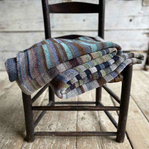 Artisan Ladders Throw #17 is a one-of-a-kind knit textile - a work of art! Made in USA.