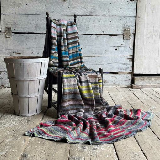 Artisan Ladders Throw #18 is a one-of-a-kind knit textile - a work of art! Made in USA.