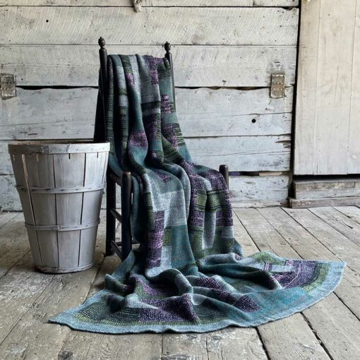 Swans Island's Artisan Patchwork Throw #208 is a one-of-a-kind knit. Made in USA this cozy oversized throw has richly marled yarns. Each one is unique.