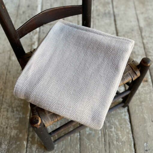 Swans Island Harmony Chevron Throw in Dark Tan - Soft cotton and cashmere, woven in Maine.