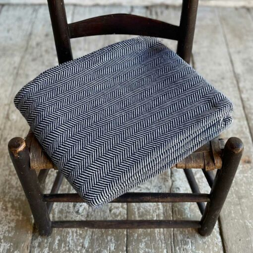 Swans Island Harmony Chevron Throw in Navy - Soft cotton and cashmere, woven in Maine.