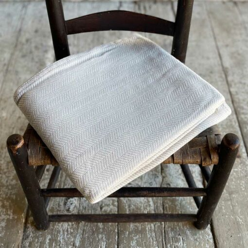 Swans Island Harmony Chevron Throw in Tan - Soft cotton and cashmere, woven in Maine.